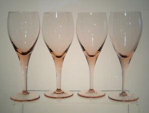 "ELEGANCE ROSE MIKASA Water Goblets 7 7/8"" aka ELEGANT ROSE, Pink Glass, SET of 4"