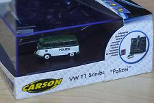 Carson 1:87 VW T1 Samba Bus Polizei 2.4G H0 ferngesteuert Licht Sound 500504121