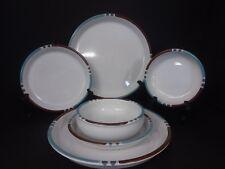 9 pc Dansk Mesa Blue & White Sand Dinner & Salad Plates Bowls JAPAN Excellent