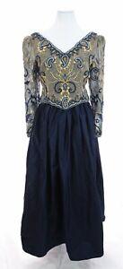 Vintage Richilene New York Formal Long Beaded Evening Ball Gown Dress Blue Sz 10