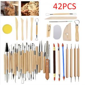 42Pcs Polymer Clay Carving Tools Wooden Models Clay Tool Set Pottery Tools