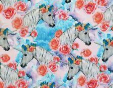 Fat Quarter Unicorn Fabric Majestic Unicorns Pegasus Floral Roses Pastel Fq