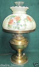 Vintage Brass Aladdin Model #6 w/ Beautiful Floral Shade Electrified