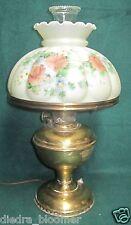 Vintage Brass Aladdin Model #6 w/ Beautiful Floral Shade Electrified