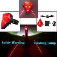 2 Laser + 8 LED Luce posteriore lampeggiante Avvertimento di sicurezza coda bici