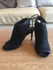 NEXT black suede effect shoes 3.5 stiletto heel with ankle tie size 4.5 /37.5