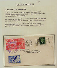 Great Britain stamp expo label on cover 1937 Ms0926