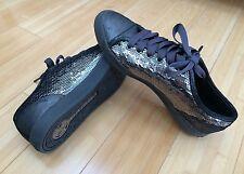 New Michael Kors Gunmetal Sequins Lace Up Leather City Sneaker MK Sparckle Sz 8M