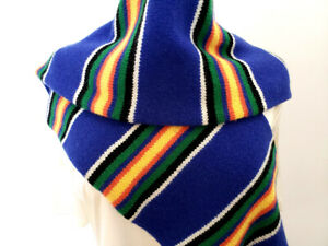 NWT Ralph Lauren Lambswool Double Layered Knitted Scarf 9 x 72 inches Multicolor