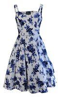 Hearts & Roses White Retro Swing Blue Rose Print Jive Dress