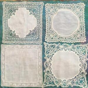 4 FABULOUS HANDMADE ANTIQUE BOBBIN & NEEDLE LACE WEDDING HANDKERCHIEFS /HANKIES