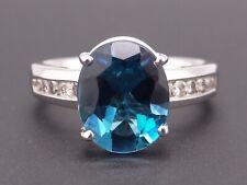 Platinum 4ct Oval Cut London Blue Topaz Diamond Halo Cluster Ring Size 7