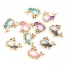 10x Gold Enamel Dolphine Alloy Charms Earrings Pendant For Jewelry Making set