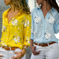 Womens Floral Button Up Shirts Ladies V Neck Long Sleeve Tops Blouse Plus Size