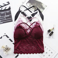 Women Floral Sheer Lace Triangle Bralette Wire free Bra Top Strappy Lingerie EP
