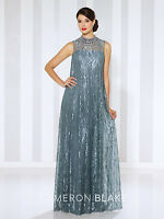 NEW CAMERON BLAKE Mon Cheri 116670 Formal Evening STEEL GREY LACE Dress GOWN 14