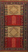 Traditional Tribal Geometric Sumak Kilim Oriental Area Rug Wool Hand Woven 4'x6'