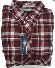 Club Room Red Plaid Long Sleeve Causal Shirt 100% Cotton XLT Big & Tall