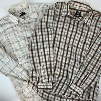 Lot of 2 Emporio Armani Mens Size XL Shirts Plaid Beige Cotton Long Sleeve