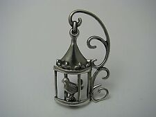 """STERLING SILVER BROOCH PIN """"Bird in Cage"""" by Lang ca1950's New Jewelry Gift Box"""