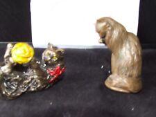 2 Vintage Franklin Mint Curio Cabinet Cats Metal Tfm Animalier Vienna Bronze