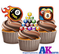 PRECUT 8 Ball Pool Players Mix 12 Edible Cupcake Toppers Decorations Birthday