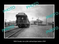 OLD LARGE HISTORIC PHOTO OF WELLS NEVADA, THE RAILROAD DEPOT STATION c1930