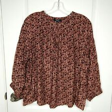 Madewell Womens Red Brown Floral Keyhole Front Semi Sheer Cotton Silk Blouse L