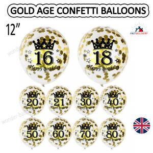 Gold Age Birthday Balloons 16th 18th 21st 30th 40th Birthday Decorations UK