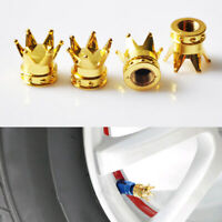 4pcs Gold Crown Car Wheel Tyre Air Valve Stem Screw Dust Caps Cover Accessories