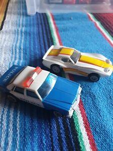 Matchbox Powertrack Speedtrack Chevy Police Car And Corvette 1:64 Micro Slot Car