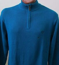 Chaps Mens XL Extra Large Mock Neck Sweater Teal Blue 1/4 Zip Ribbed Trim - New