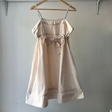 Hourglass Womens Cocktail Peach Empire Waist Strappy Cotton Dress, Size 14