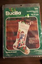 Counted Cross Stitch Bucilla CHRISTMAS Stocking  Kit, Spying On Santa 18""