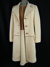 LILLI ANN KNITS Vtg 60s Cream/Brown Textured Knit Dress & Coat-Bust 36/S-M