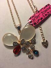 Betsey Johnson Butterfly Pendant Long Necklace