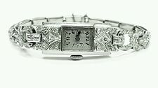 Antique Vintage 2.00ct Rose And Single Cut Diamond 14K White Gold WristWatch