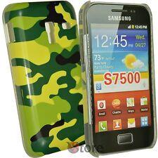 Abdeckung Für Samsung Galaxy Ace Plus S7500 Militär Tarnung Grün + Schutzfilm