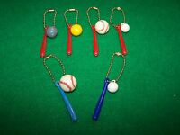 New / old stock Plastic Baseball & Bat Pinback danglers (lot of 6 sets)