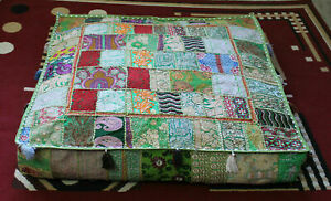 """Embroidered square 16"""" Green cotton boho patchwork heavy duty ottoman puff cover"""