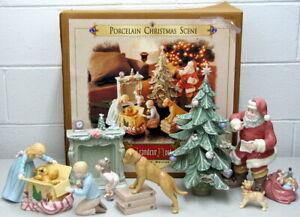 Christmas Scene 9 Piece Grandeur Noel 2001 Porcelain Santa Tree Mantel Gifts