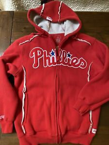 VTG Philadelphia Phillies Mens Hoodie Red Stitches Baseball-MLB Zip Up Pockets M