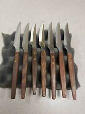Lot of 7 Vintage St. Regis Steak Knife Stainless Steel Wood Handle Used Working