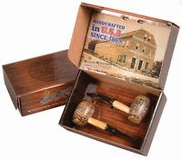 2 Tobacco Pipe Country Gentleman Missouri Meerschaum Corn Cob Gift Set - 5624