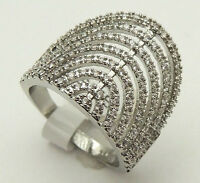 Vintage Sz8 Embellished Crown Ring w/ White CZs Gorgeous 925 Sterling Silver