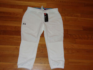 NWT UNDER ARMOUR FITTED WHITE BASEBALL PANTS WOMENS SMALL