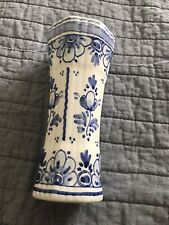 More details for blue & white delftware pottery small vase