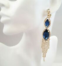 Crystal Diamante Blue Clip-On Earrings Long Dangle Drop Wedding Indian Bollywood