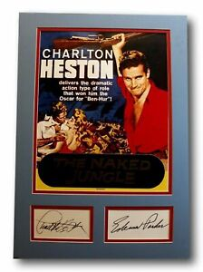 """""""The Naked Jungle"""" Charlton Heston & Eleanor Parker Autographed Signed Display"""