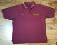 Arizona State Sun Devils Nike Team Men's Maroon Polo Shirt Sz Large Embroidered